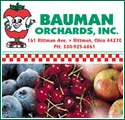 U-pick ohio black raspberries, apples red raspberries and blackberries Bauman Orchards. We have many vegetables, fruits, and flowers in season. The season usually starts in April with asparagus and rhubarb. It ends in the fall with potatoes